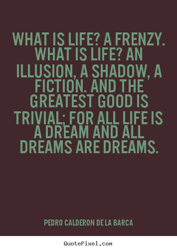 Life quotes - What is life? a frenzy. what is life? an illusion,..