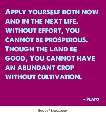 Apply yourself both now and in the next life. without effort, you.. Plato  life quotes