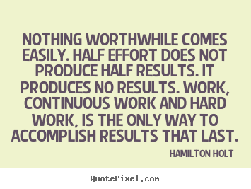 Hamilton Holt picture quotes - Nothing worthwhile comes easily. half effort does not produce.. - Success quotes